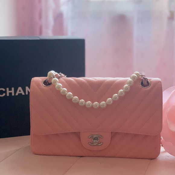 CHANEL Handbags - CHANEL Caviar Chevron Quilted Small Double Flap